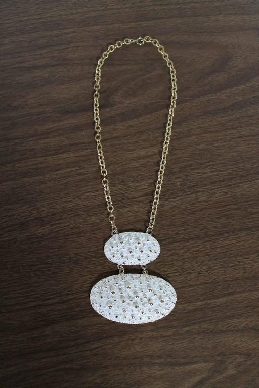 Vintage Napier Chunky Brutalist White Enamel and Gold-Tone Necklace For Sale 4