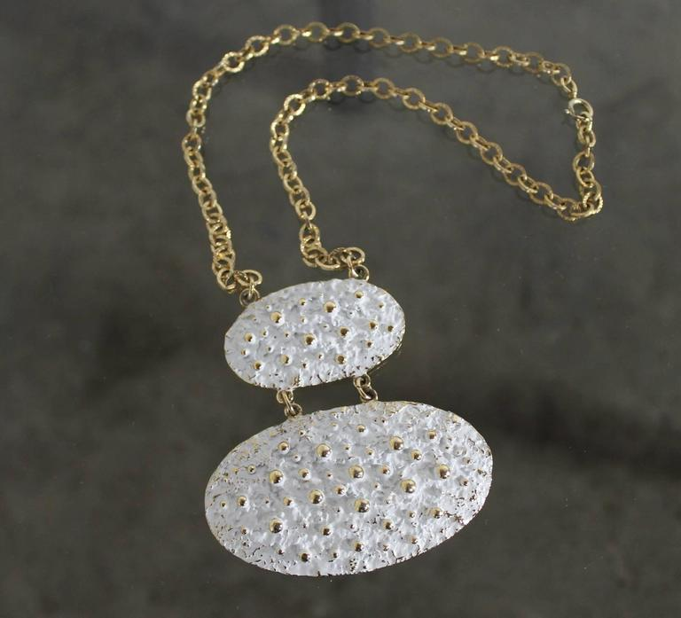 Vintage Napier Chunky Brutalist White Enamel and Gold-Tone Necklace For Sale 5