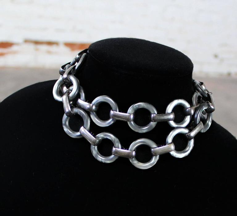 Modern Vintage YSL Yves Saint Laurent Lucite and Metal Chunky Link Necklace For Sale