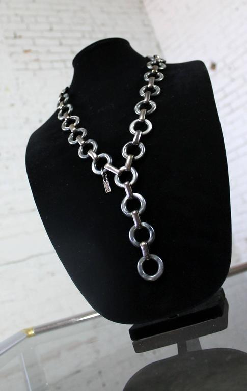 French Vintage YSL Yves Saint Laurent Lucite and Metal Chunky Link Necklace For Sale