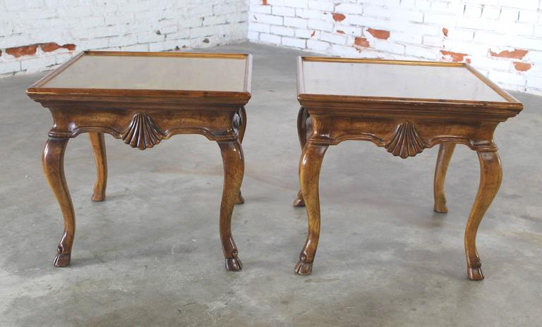 Vintage Pair of Brittiany for Heritage Hooved Side Tables with Brass Insert Tops For Sale 4