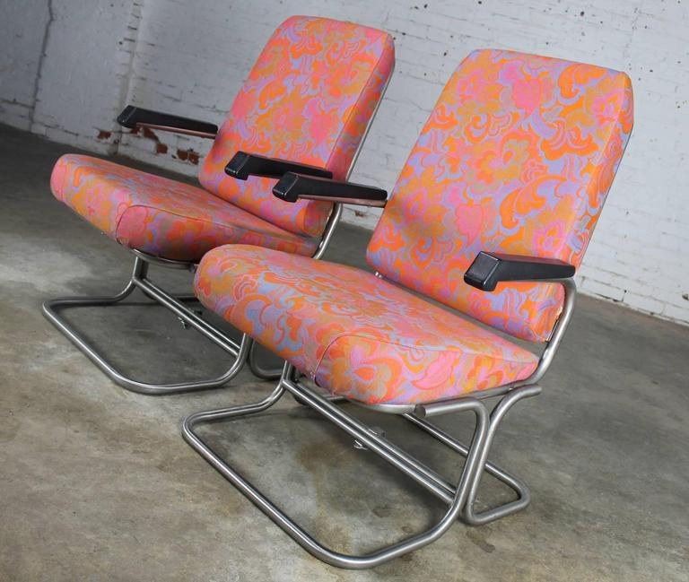 American Vintage Mid Century Modern Pullman Train Car Folding Lounge Chairs A Pair For