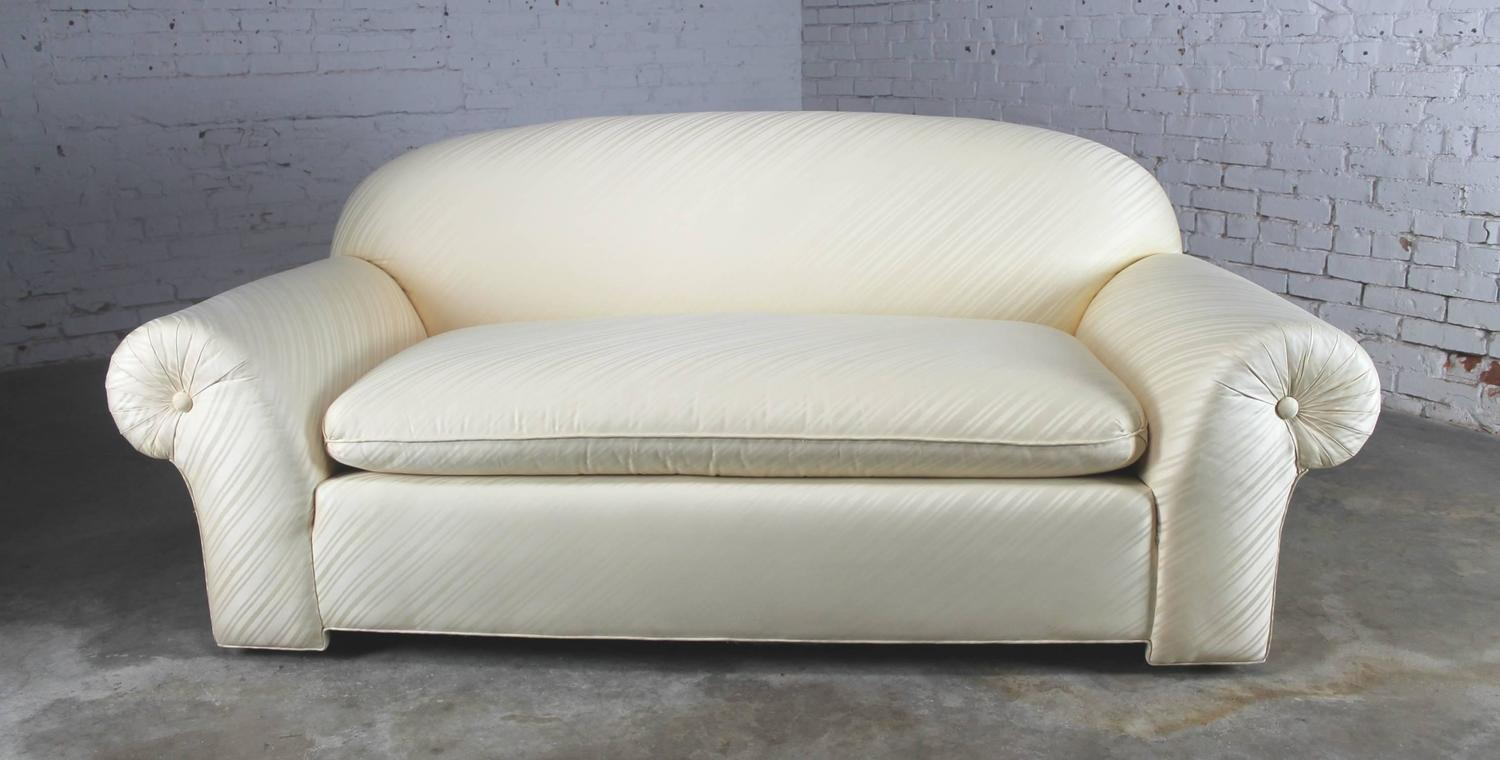 vintage donghia sofa in original white vice versa fabric for sale at 1stdibs. Black Bedroom Furniture Sets. Home Design Ideas