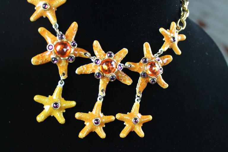 American Vintage Gem-Craft Bejeweled Starfish Bib Necklace, Signed CRAFT © For Sale