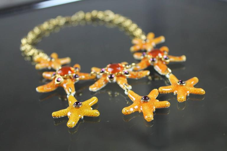 Vintage Gem-Craft Bejeweled Starfish Bib Necklace, Signed CRAFT © In Good Condition For Sale In Topeka, KS