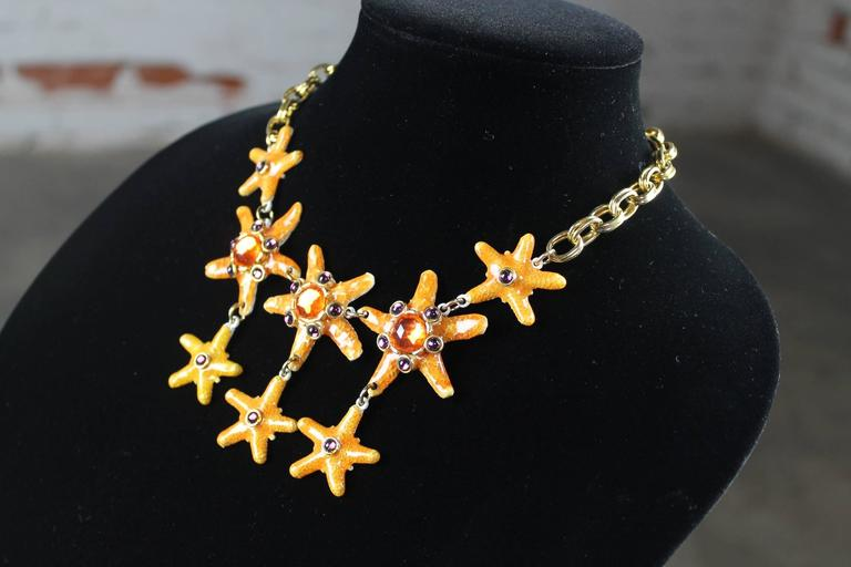 Vintage Gem-Craft Bejeweled Starfish Bib Necklace, Signed CRAFT © For Sale 3