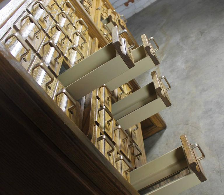 20th Century Vintage Oak 60-Drawer Library Card Catalog Cabinet For Sale