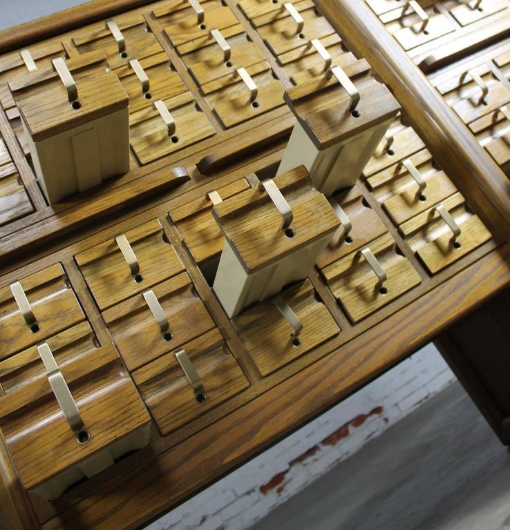 Laminate Vintage Oak 60-Drawer Library Card Catalog Cabinet For Sale