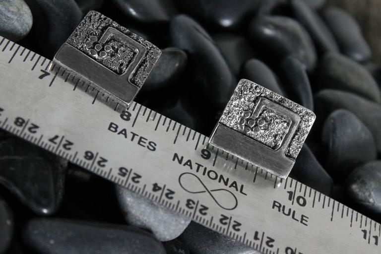 Vintage Guy Gilles Vidal Brutalist Cufflinks in Silver Plated Pewter For Sale 4