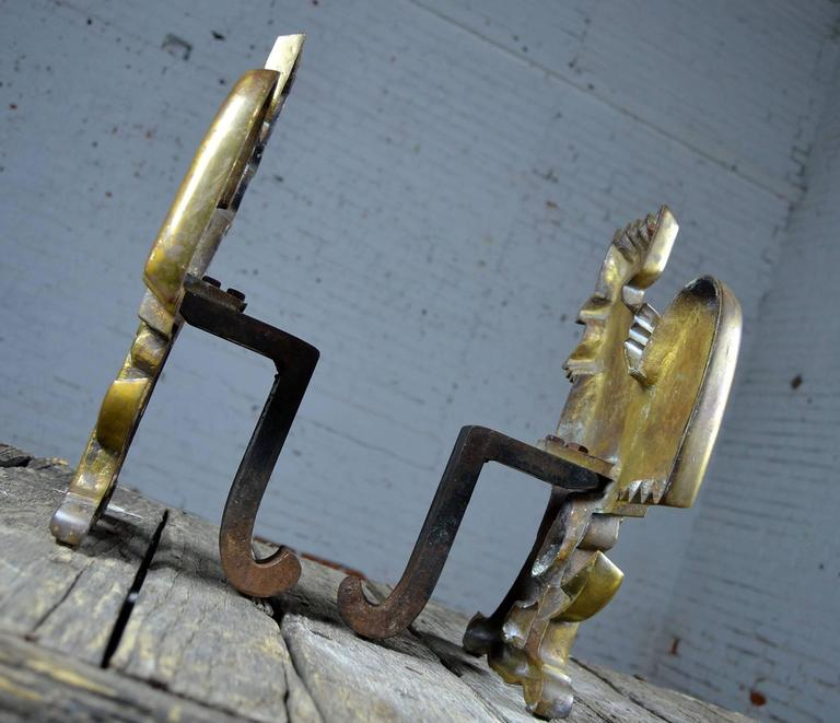 Cast Vintage Rooster Andirons Solid Brass For Sale