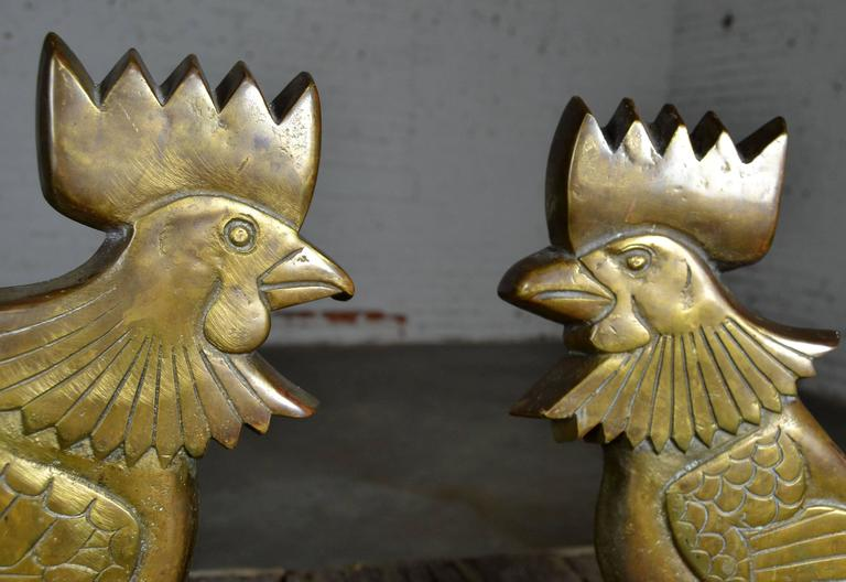 Vintage Rooster Andirons Solid Brass In Good Condition For Sale In Topeka, KS