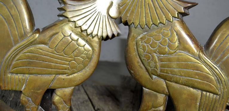 20th Century Vintage Rooster Andirons Solid Brass For Sale