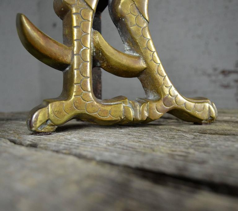 Vintage Rooster Andirons Solid Brass For Sale 1