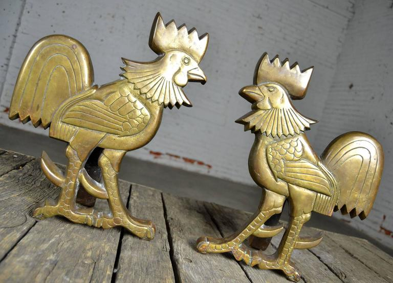 Vintage Rooster Andirons Solid Brass For Sale 4