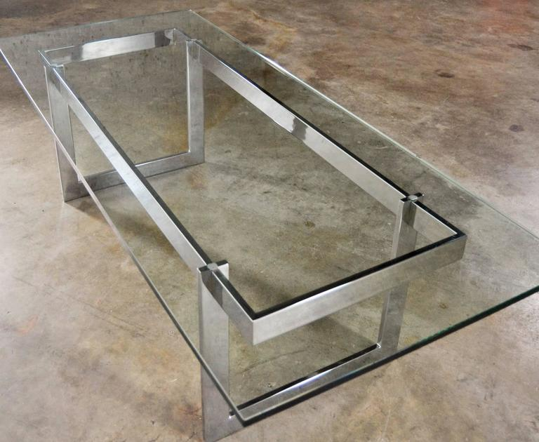 Fabulous Rectangular Chrome And Glass Mid Century Modern Coffee Table In  The Style Of Milo