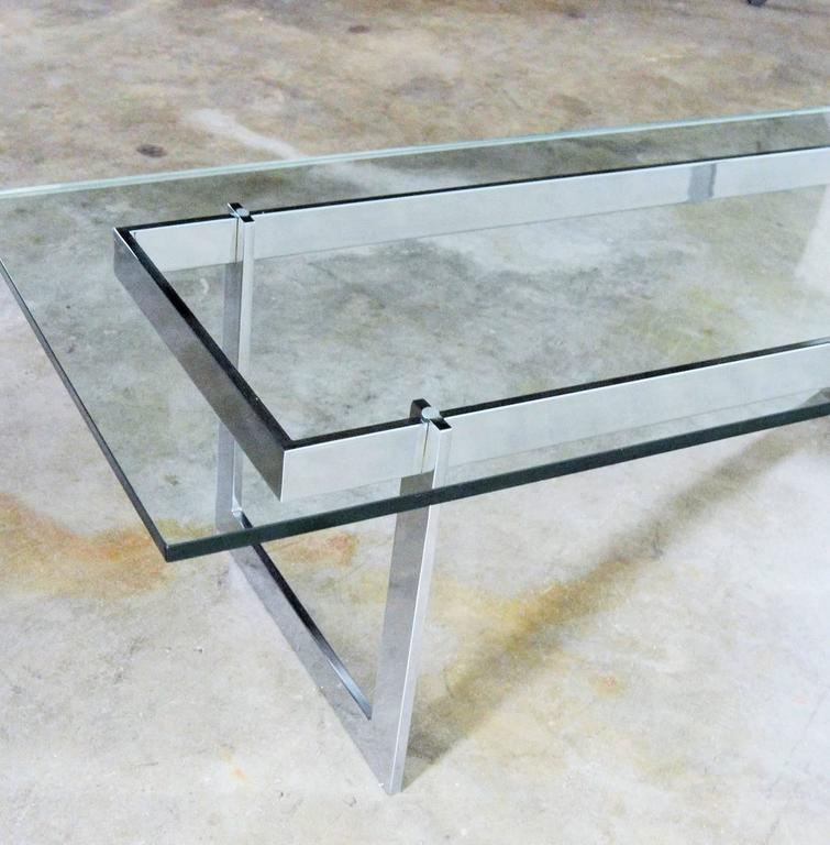 Vintage Mid Century Modern Milo Baughman Style Chrome And Glass Coffee Table For Sale At 1stdibs