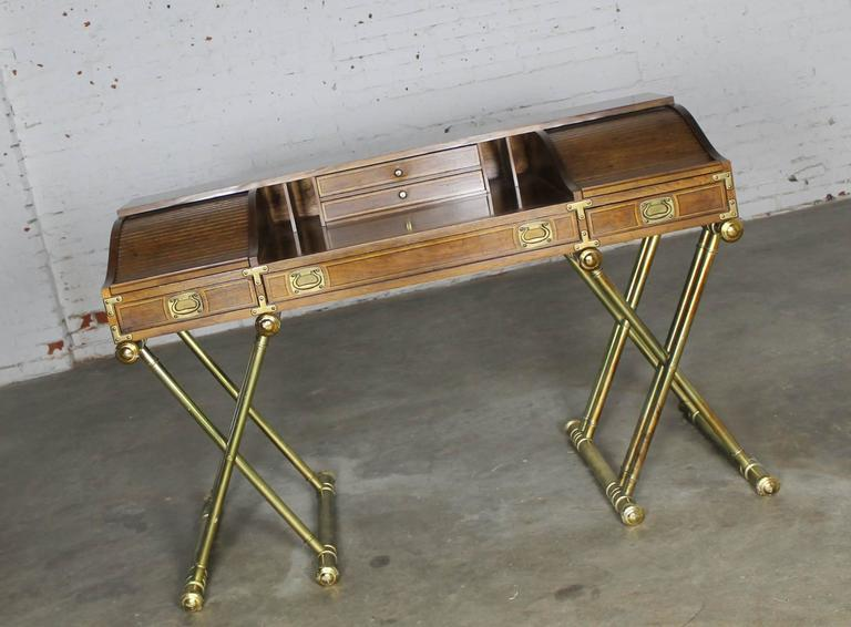 Vintage Drexel Campaign Desk With Gilt X Base Legs And Low