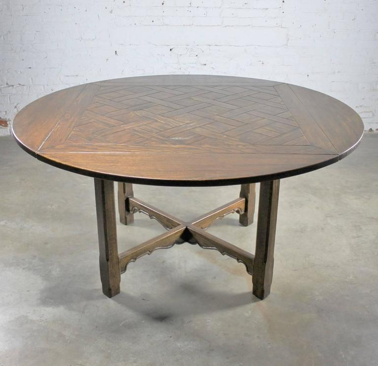 Drop leaf oak square round pub table w parquet top distressed old handsome vintage oak table in the manner of an old english pub table with a square watchthetrailerfo