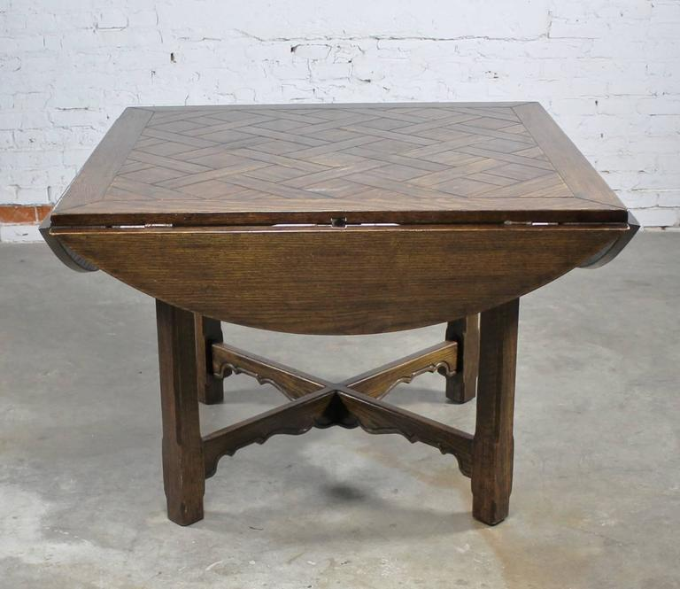 drop leaf oak square round pub table w parquet top distressed old english style at 1stdibs. Black Bedroom Furniture Sets. Home Design Ideas