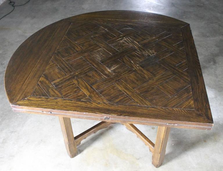 Drop Leaf Oak Square Round Pub Table W Parquet Top