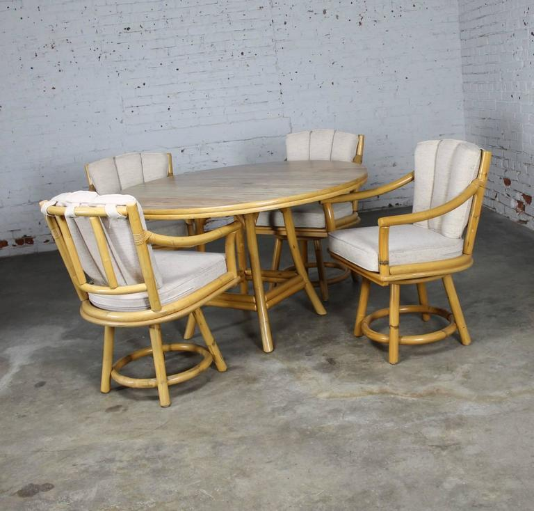 Mid-Century Modern Mid-Century Ficks Reed Co. Round Rattan Game Table with Four Swivel Armchairs For Sale