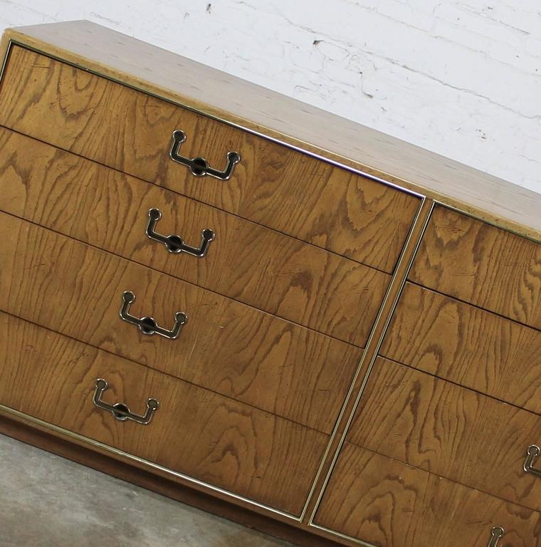 Vintage Mid-Century Campaign Style Eight-Drawer Dresser by Founders Furniture For Sale 1