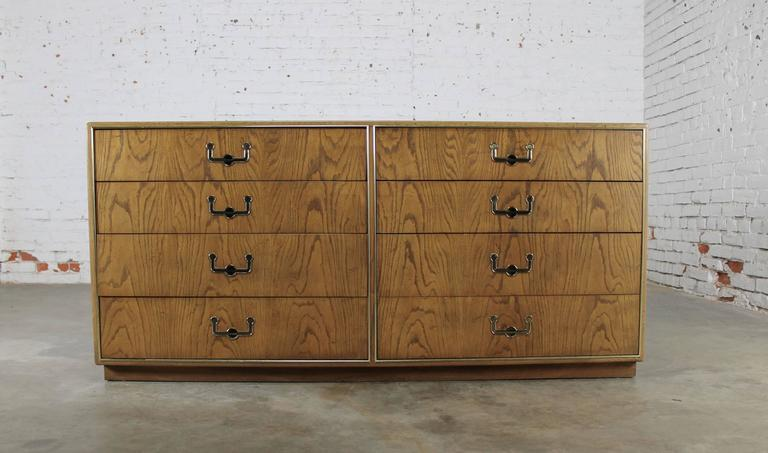 Vintage Mid-Century Campaign Style Eight-Drawer Dresser by Founders Furniture For Sale 3