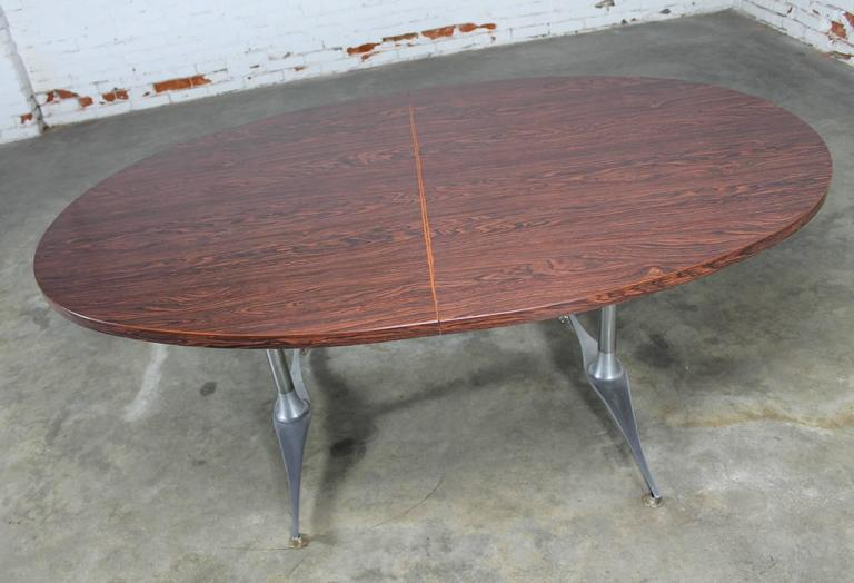 Mid Century Dinette Set, Oval Double Pedestal Table With Six Swivel Chairs  For Sale