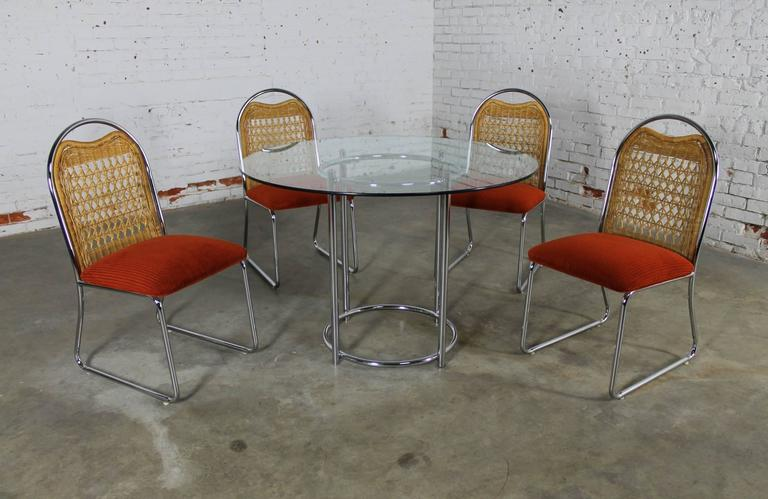 Mid-Century Modern Mid-Century Daystrom Round Glass Chrome Dinette Table and Four Wicker Chairs For Sale