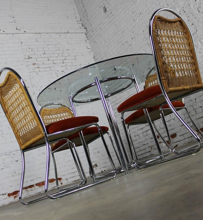 American Mid-Century Daystrom Round Glass Chrome Dinette Table and Four Wicker Chairs For Sale