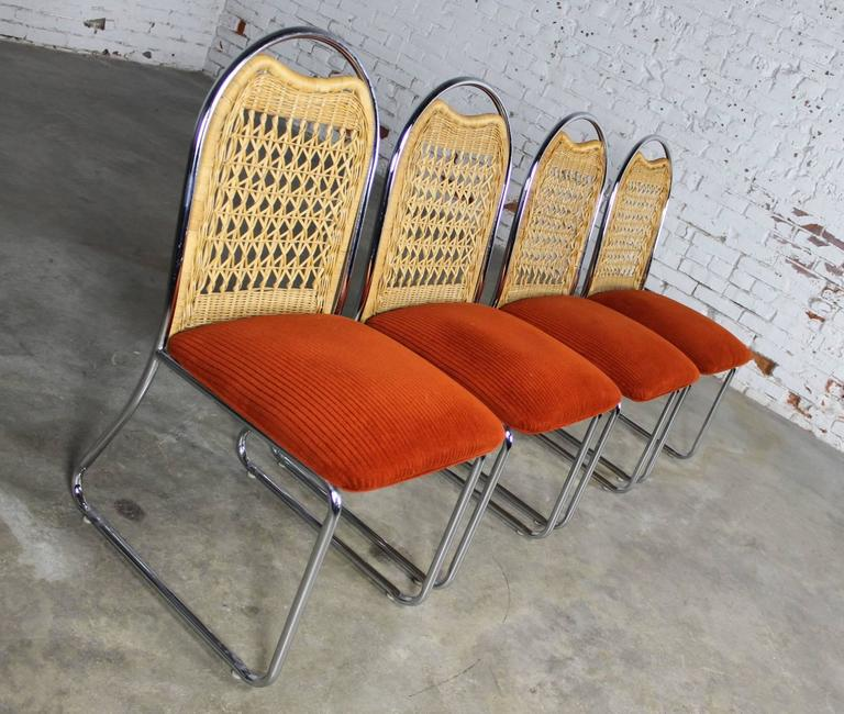 Fabric Mid-Century Daystrom Round Glass Chrome Dinette Table and Four Wicker Chairs For Sale
