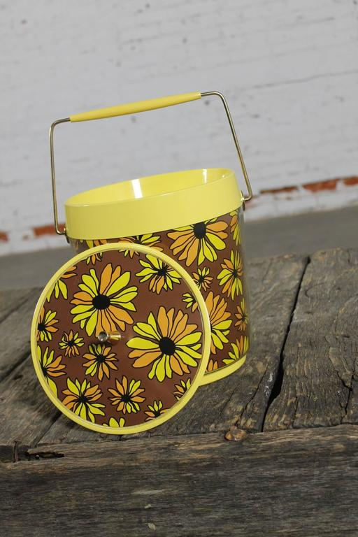 Yellow Daisy Ice Bucket By West Bend Thermo Serv Vintage