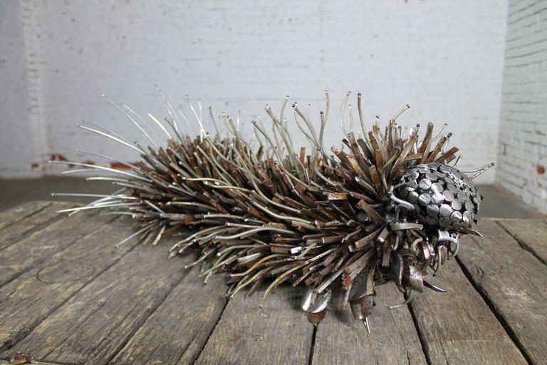 Modern Caterpillar Sculpture or Garden Art of Reclaimed Metal by Jason Startup For Sale