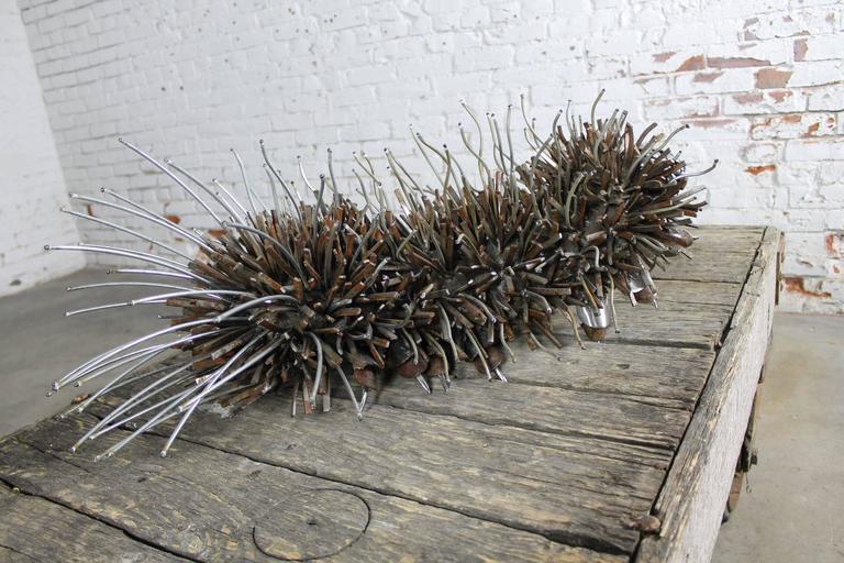 Welded Caterpillar Sculpture or Garden Art of Reclaimed Metal by Jason Startup For Sale