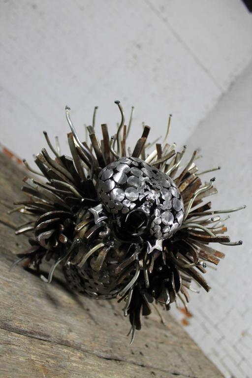 Caterpillar Sculpture or Garden Art of Reclaimed Metal by Jason Startup For Sale 3