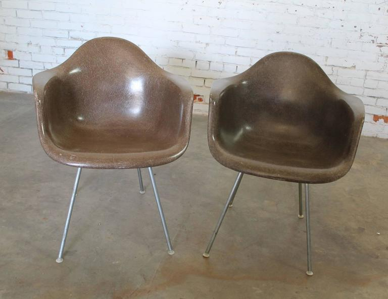 Herman Miller Eames Molded Fiberglass DAX Arm Shell Chairs With H Base
