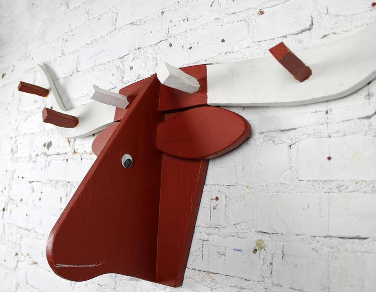 Folkart Longhorn Steer Head Coat Rack Red and White Vintage Fun 2