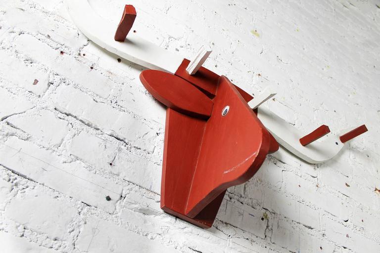 Folkart Longhorn Steer Head Coat Rack Red and White Vintage Fun 3