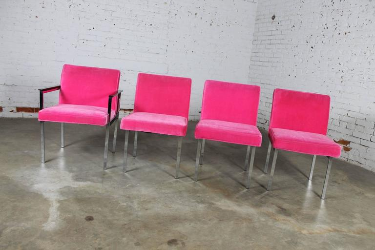 Awesome set of four hot pink and chrome dining chairs, one with arms by American Furniture Company, Inc. of Martinsville, Virginia. They are vintage Mid-Century Modern in the style of Milo Baughman and in absolutely incredible condition, circa