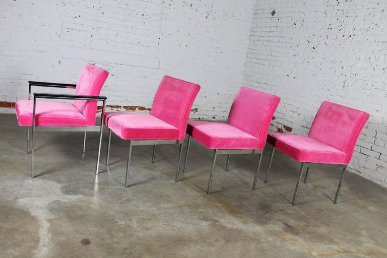 Hot Pink and Chrome Dining Chairs American of Martinsville, Mid-Century Modern In Good Condition In Topeka, KS