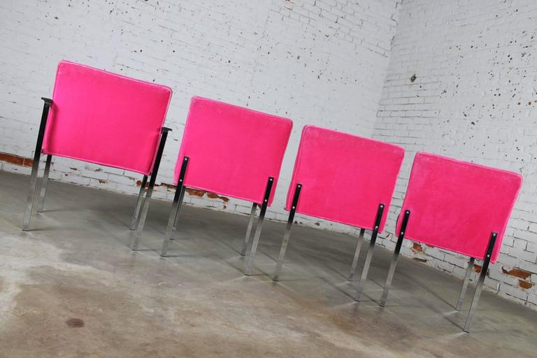 20th Century Hot Pink and Chrome Dining Chairs American of Martinsville, Mid-Century Modern