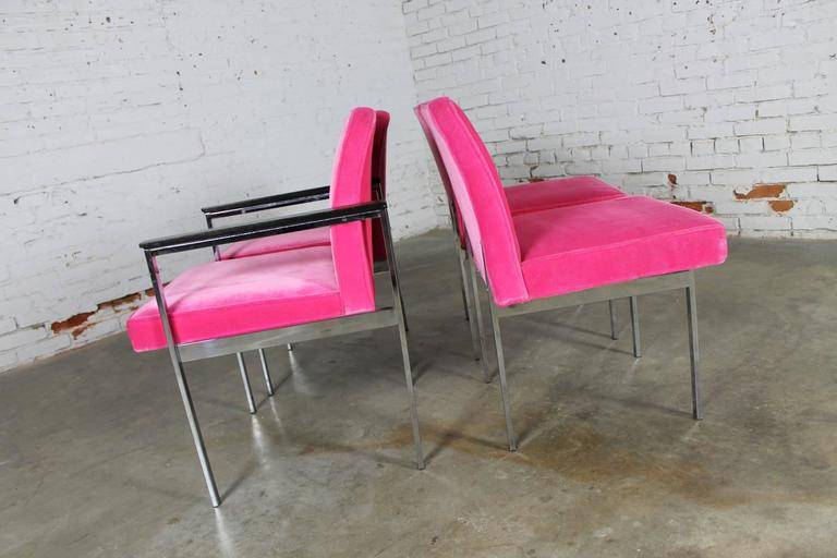 Hot Pink and Chrome Dining Chairs American of Martinsville, Mid-Century Modern 1