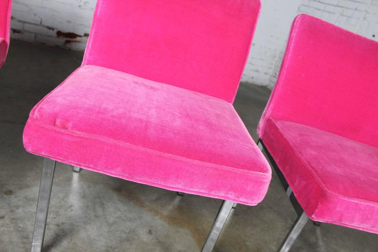 Hot Pink and Chrome Dining Chairs American of Martinsville, Mid-Century Modern 3