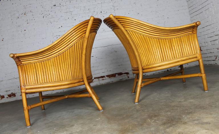 Modern Pair Of Rattan Club Chairs With Fan Backs Vintage In The Style Of  McGuire For