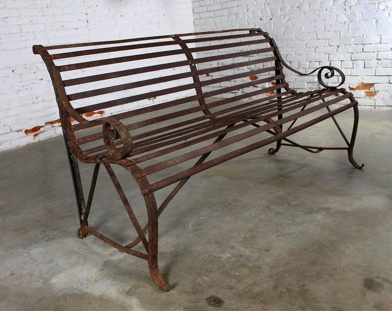 Georgian Antique 19th Century Forged Strap Iron Garden Bench For Sale - Antique 19th Century Forged Strap Iron Garden Bench For Sale At 1stdibs