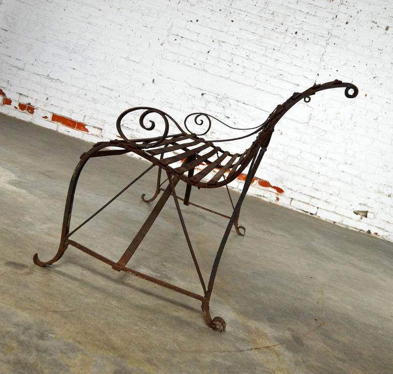 Antique 19th Century Forged Strap Iron Garden Bench At 1stdibs