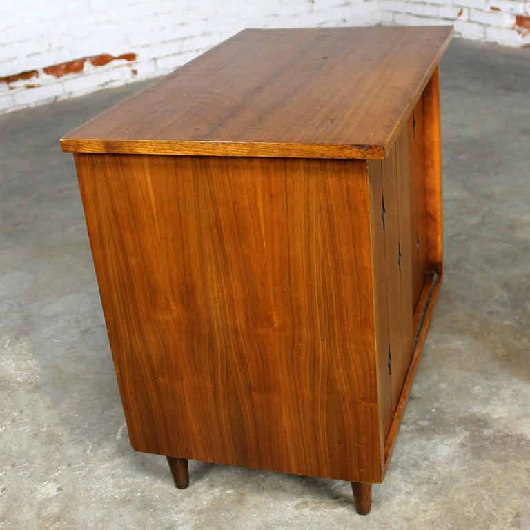 Awesome Mid Century Modern Lp Record Storage Cabinet In Walnut With Sliding Byp Doors