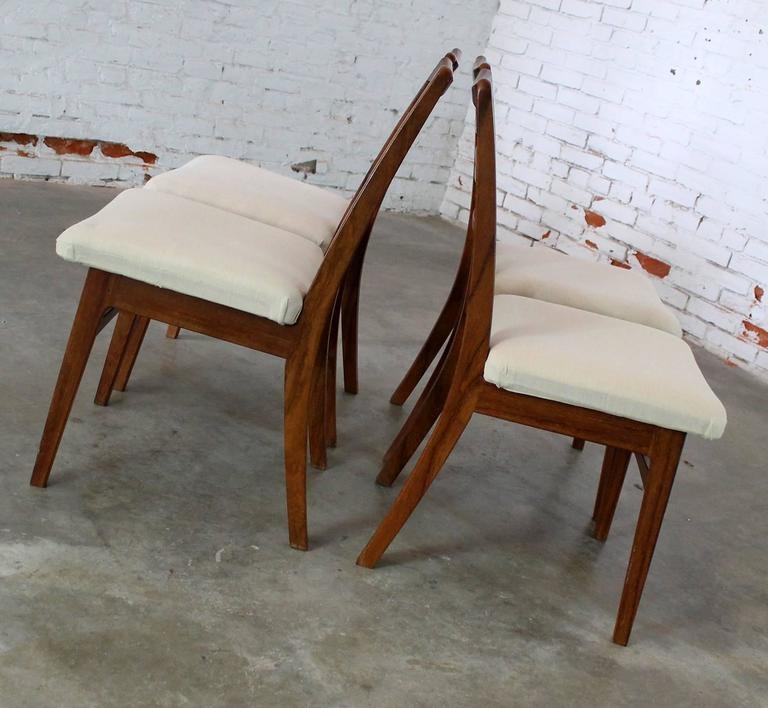 Rosewood Ladderback Dining Chairs Vintage Mid Century Modern Set Of