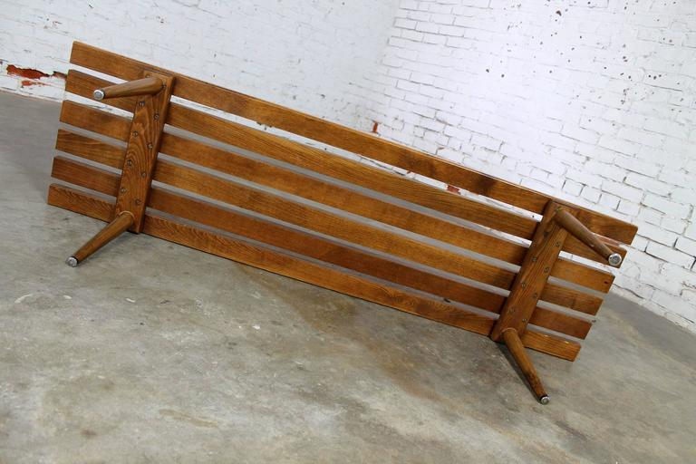 Yugoslavian Slatted Bench Coffee Table Vintage Mid-Century Modern For Sale 4