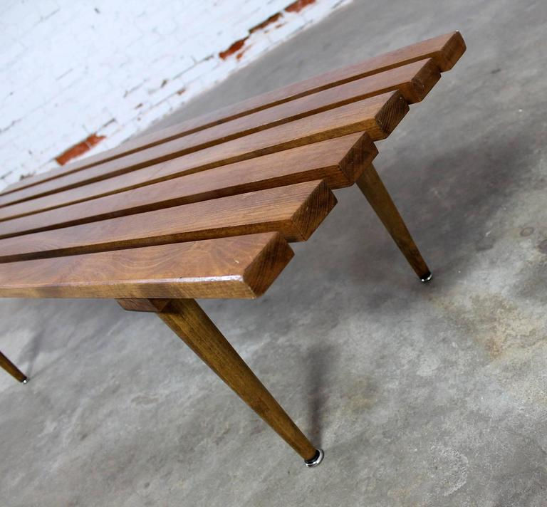 European Yugoslavian Slatted Bench Coffee Table Vintage Mid-Century Modern For Sale